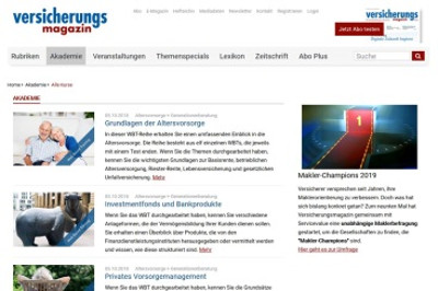 Versicherungsmagazin startet Online-Akademie