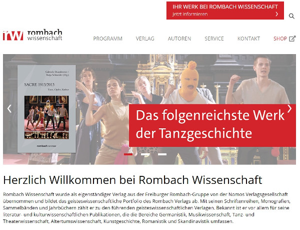 Rombach Wissenschaft präsentiert neue Verlagshomepage und neuen Shop
